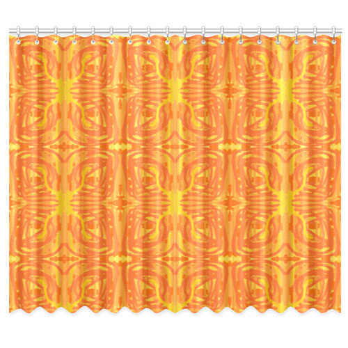 "Orange and Yellow Tribal Butterflies 9059 Window Curtain 50""x84""(Two Piece)"