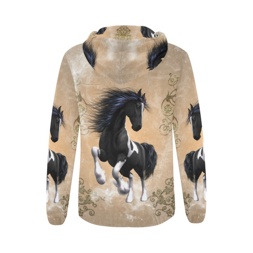 Wonderful horse All Over Print Full Zip Hoodie for Women (Model H14)