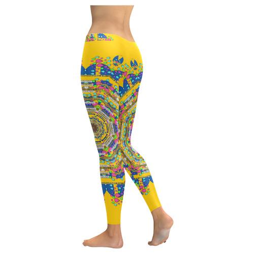 Happy fantasy earth mandala Low Rise Leggings (Invisible Stitch) (Model L05)