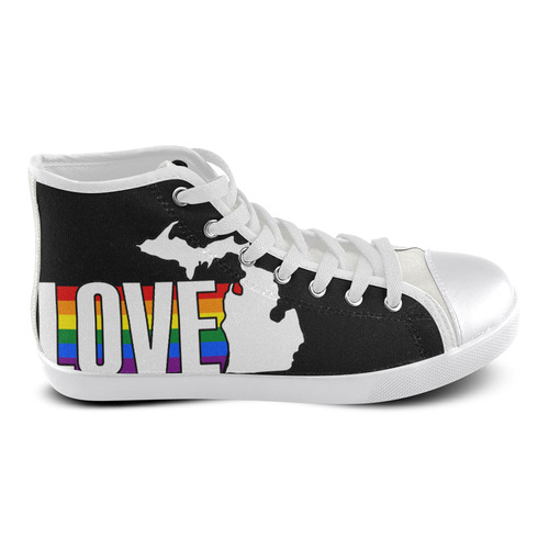 ladies-high-top-Love-Michigan Women's High Top Canvas Shoes (Model 002)