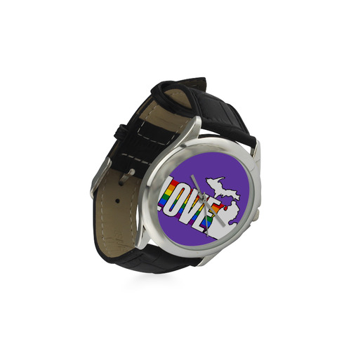 Gay Pride Love Michigan Watch w/Purple Face Women's Classic Leather Strap Watch(Model 203)