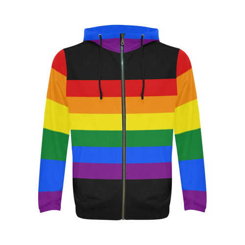 Gay Pride Rainbow Flag Stripes All Over Print Full Zip Hoodie for Men (Model H14)