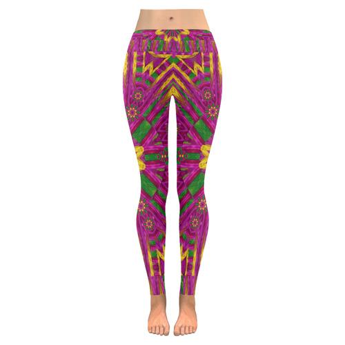 Feather stars mandala pop art Low Rise Leggings (Invisible Stitch) (Model L05)