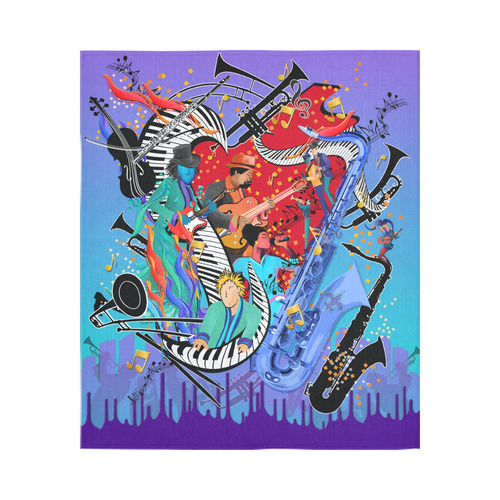 """Cool Jazzy Blues Music Tapestry by Juleez Cotton Linen Wall Tapestry 51""""x 60"""""""