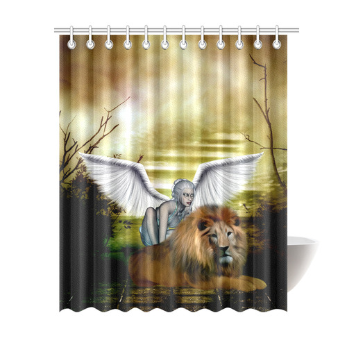 Fairy With Lion Shower Curtain 69x84