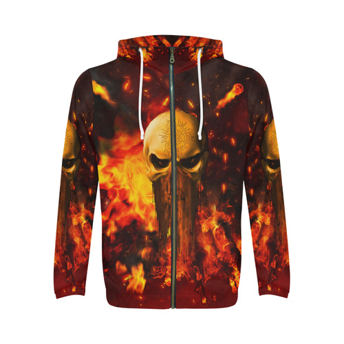 Amazing skull with fire All Over Print Full Zip Hoodie for Men (Model H14)