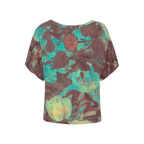 flowers Women's Batwing-Sleeved Blouse T shirt (Model T44)