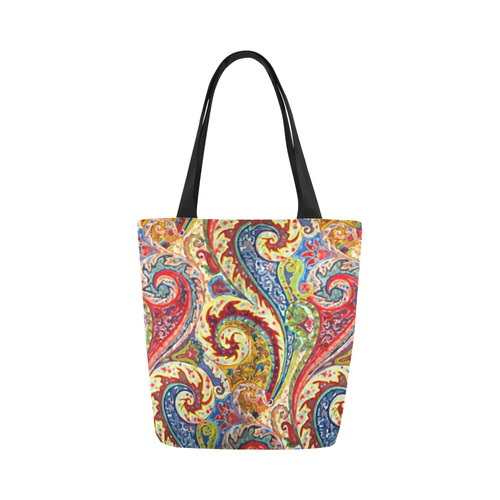 07aba8c2a82 Red Blue Indian Vintage Paisley Pattern Canvas Tote Bag (Model 1657)