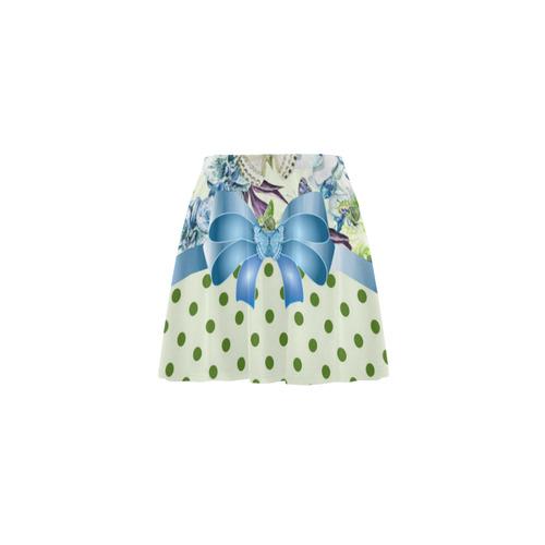 Watercolor Flowers Butterflies Polka Dots Ribbon B Mini Skating Skirt (Model D36)