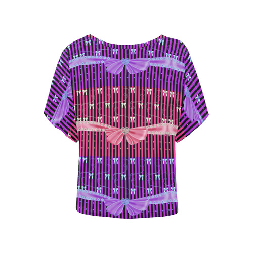 parisian perfection Women's Batwing-Sleeved Blouse T shirt (Model T44)