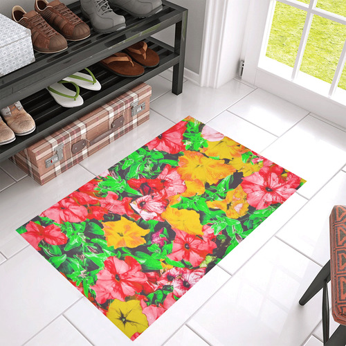 """closeup flower abstract background in pink red yellow with green leaves Azalea Doormat 30"""" x 18"""" (Sponge Material)"""