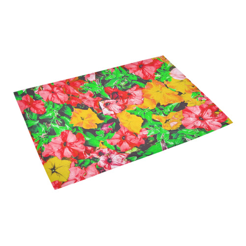 """closeup flower abstract background in pink red yellow with green leaves Azalea Doormat 24"""" x 16"""""""