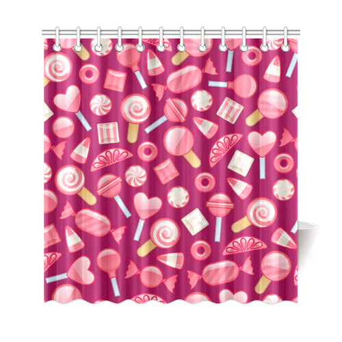 Sweet Candy Cane Love Hearts Shower Curtain 69x72