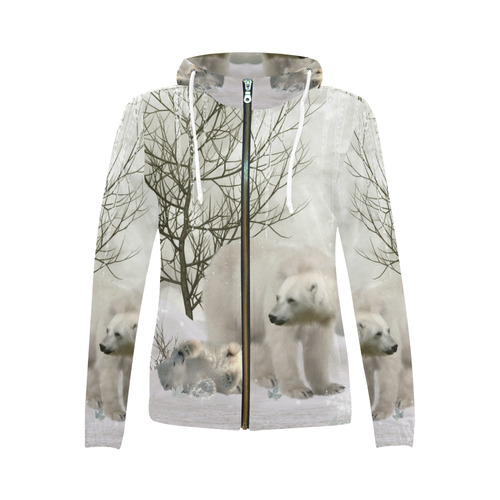 f9c179c4 Awesome polar bear All Over Print Full Zip Hoodie for Women (Model H14)