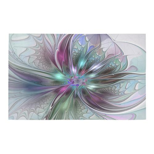 Colorful Fantasy Abstract Modern Fractal Flower Bath Rug
