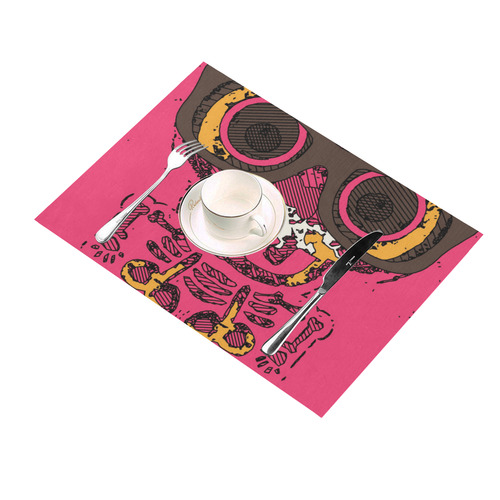 funny skull and bone graffiti drawing in orange brown and pink Placemat 14'' x 19''