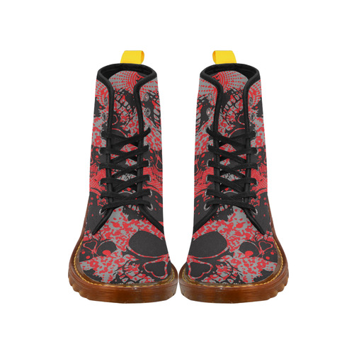 Skull With Red Dot Background Martin Boots For Women Model 1203H