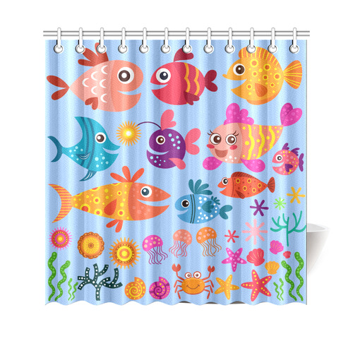 Cute Fish Jellyfish Seashells Crab Shower Curtain 69x70