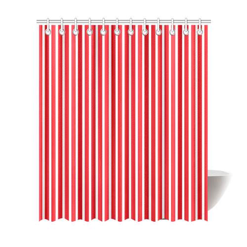 Red White Candy Striped Shower Curtain 72x84