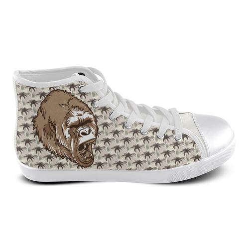 Gorilla-N-Tropical-Palms Men's High Top Canvas Shoes (Model 002)