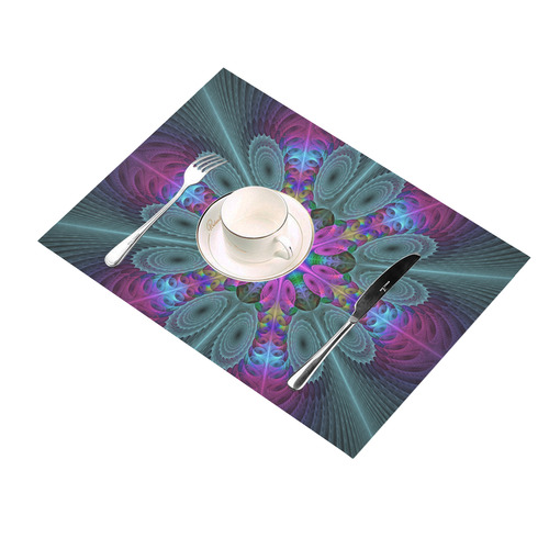 Mandala From Center Colorful Fractal Art With Pink Placemat 14'' x 19''