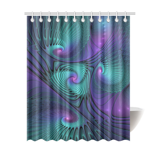 Purple Meets Turquoise Modern Abstract Fractal Art Shower Curtain 69x84