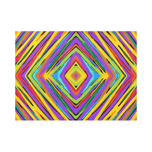 psychedelic geometric graffiti square pattern abstract in blue purple pink yellow green Placemat 14'' x 19''