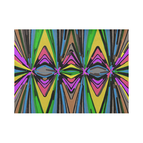 psychedelic geometric graffiti triangle pattern in pink green blue yellow and brown Placemat 14'' x 19'' (Four Pieces)