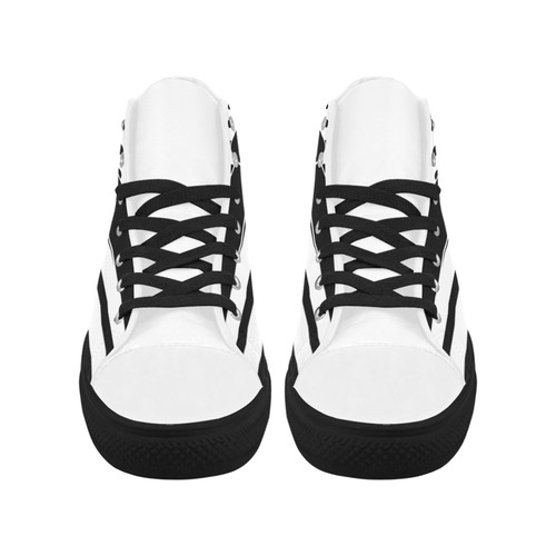Polka Dots Stripes black white Comic Ribbon black Aquila High Top Microfiber Leather Women's Shoes (Model 032)