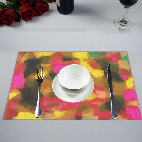 psychedelic geometric polygon shape pattern abstract in pink yellow green Placemat 14'' x 19''