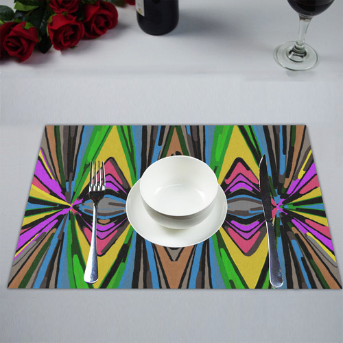 psychedelic geometric graffiti triangle pattern in pink green blue yellow and brown Placemat 14'' x 19'' (Two Pieces)