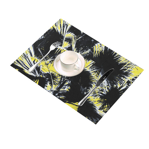 black and white palm leaves with yellow background Placemat 14'' x 19'' (Four Pieces)