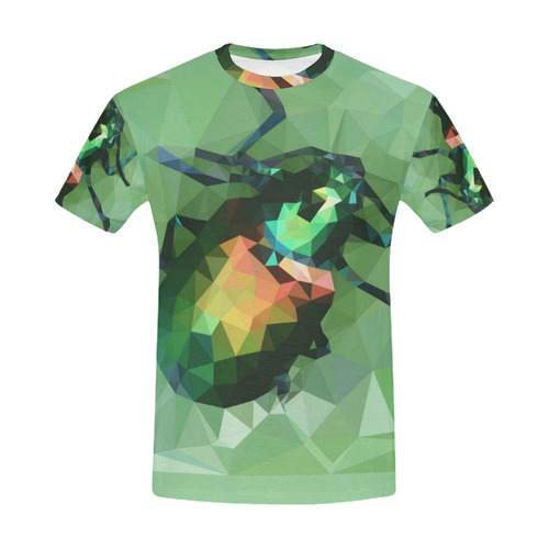 Pretty green bug, Low poly dogbane beetle All Over Print T-Shirt for Men (USA Size) (Model T40)
