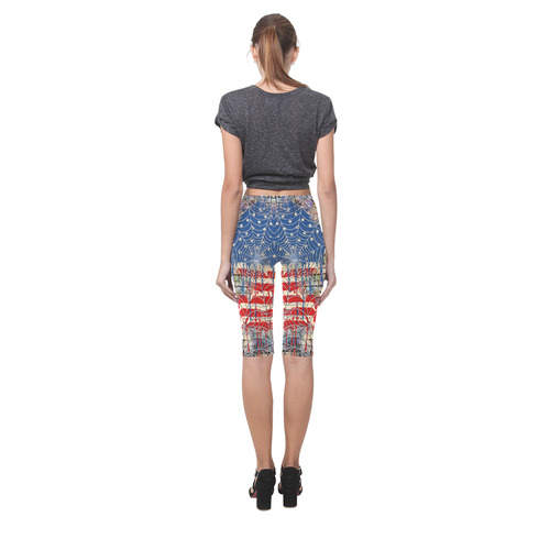 Ladies USA Flag Drip Design Print Crop Leggings Hestia Cropped Leggings (Model L03)