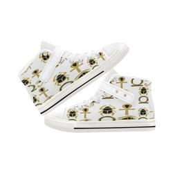 be0b047d6d12 White  Gold Ankh Eye Beetle Ladies Canvas High Top Shoe Aquila Strap Women s  Shoes (