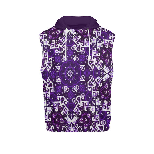 Bohemian Purple Fancy All Over Print Sleeveless Hoodie for Men (Model H15)