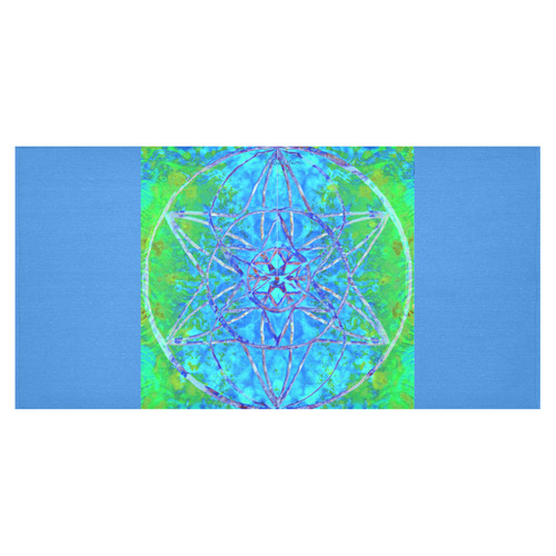 "protection in nature colors-teal, blue and green Cotton Linen Tablecloth 60""x120"""