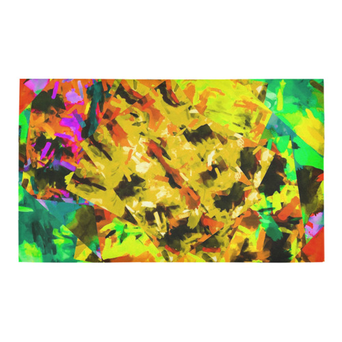 """camouflage splash painting abstract in yellow green brown red orange Azalea Doormat 30"""" x 18"""" (Sponge Material)"""