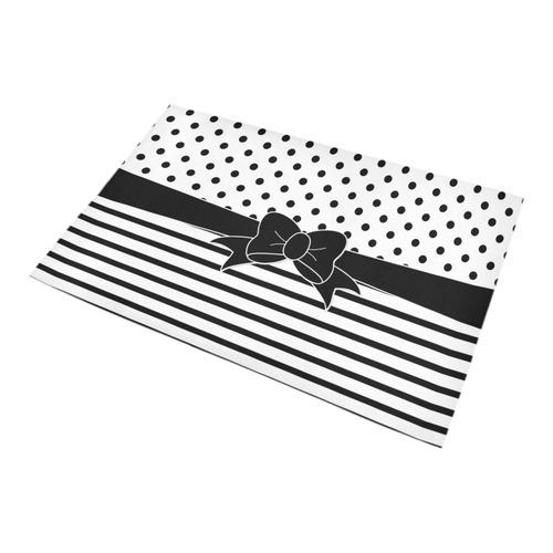 Polka Dots Stripes black white Comic Ribbon black Bath Rug 20''x 32''