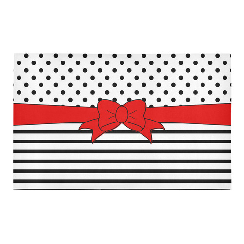 Polka Dots Stripes black white Comic Ribbon red Bath Rug 20''x 32''