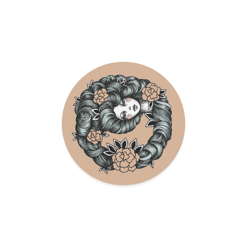 ink girl - flower hair Round Coaster
