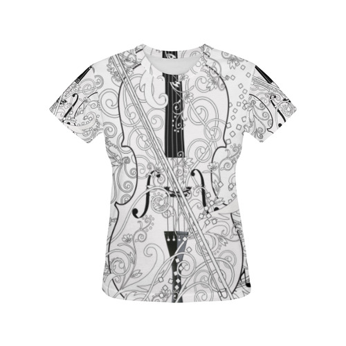 e8fa5e4e8 Violin Graphic Tee Music Art T Shirt by Juleez All Over Print T-Shirt for  Women (USA Size) (Model T40)   ID: D1684566