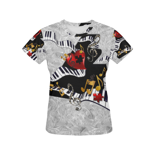 e2754f80f Cool Piano T Shirt by Juleez All Over Print T-Shirt for Women (USA Size)  (Model T40)   ID: D1684618