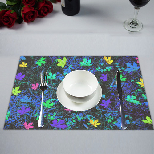 maple leaf in pink green purple blue yellow with blue creepers plants background Placemat 14'' x 19'' (Six Pieces)