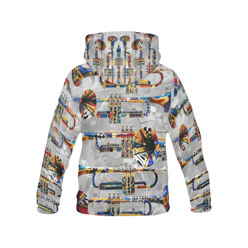 HOT Print Hoodie Trumpet Design Art All Over Print Hoodie for Men (USA Size) (Model H13)