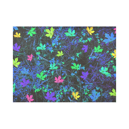 maple leaf in pink green purple blue yellow with blue creepers plants background Placemat 14'' x 19'' (Two Pieces)