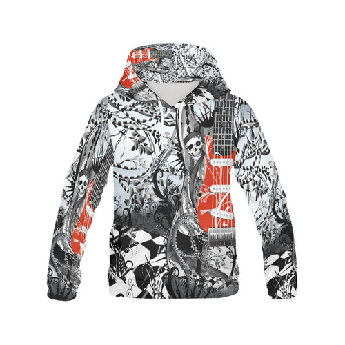 Print Hoodie Skeleton Red Guitar All Over Print Hoodie for Men (USA Size) (Model H13)