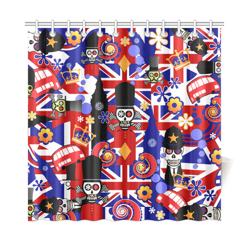 Shower Curtain UK London Flag Brit Sugar Skull 72x72