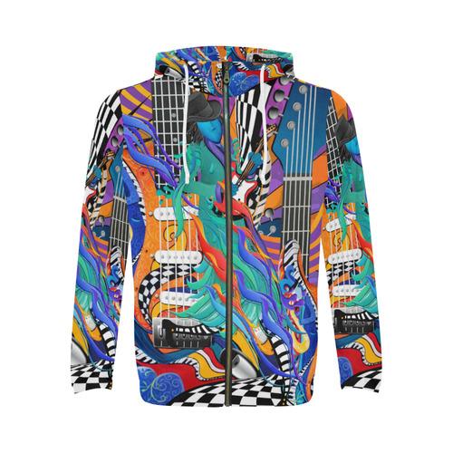 Juleez Art Colorful Hoodie Guitar Music Art Print All Over Print Full Zip Hoodie for Men (Model H14)