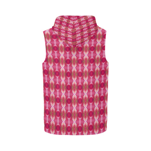 Pink Blast Floral All Over Print Sleeveless Zip Up Hoodie for Men (Model H16)